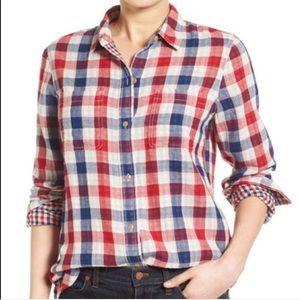 NWT Madewell Ex-Boyfriend Emmett Plaid Shirt B198